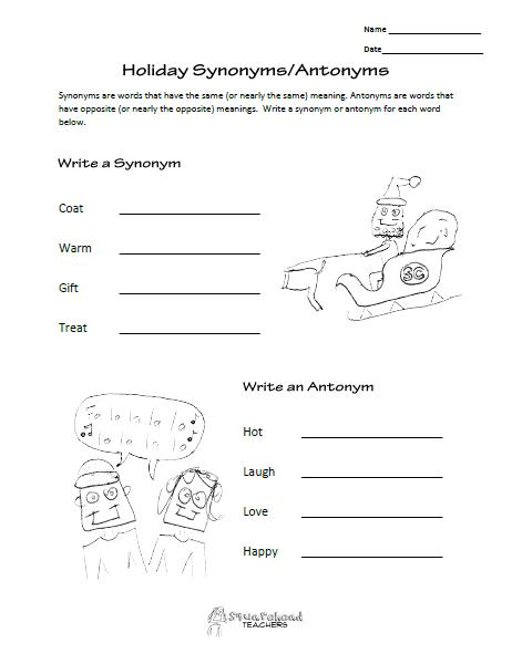 Squarehead Teachers  Free Language Arts Worksheet (synonyms And