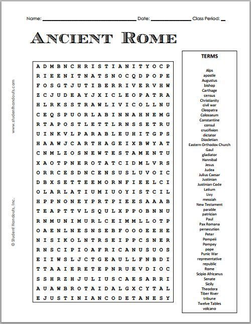 Free Printable Ancient Rome Word Search Puzzle