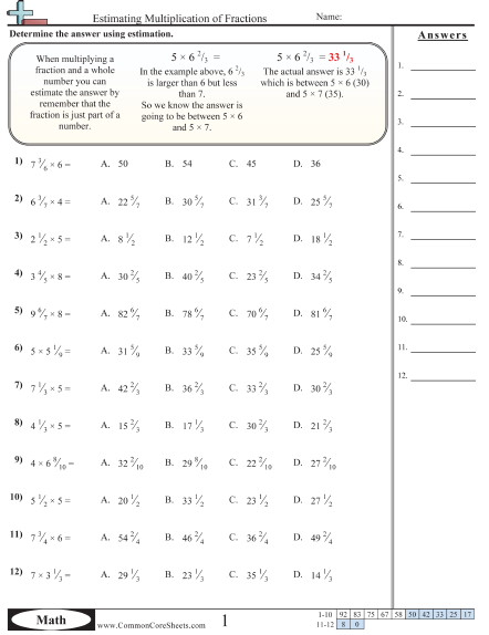 Estimating Multiplication Of Fractions Worksheet