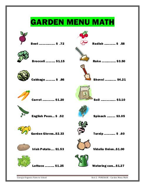 Activity – Garden Menu Math Worksheets