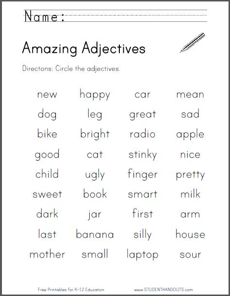Adjectives Worksheet Grade 2 Pdf