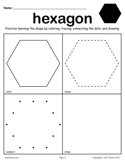 Free Hexagon Shape Worksheet  Color, Trace, Connect, & Draw