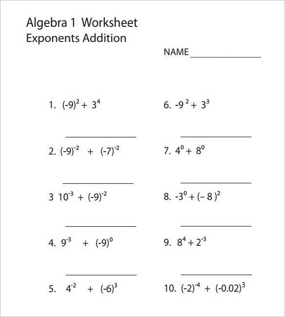 8+ College Algebra Worksheet Templates