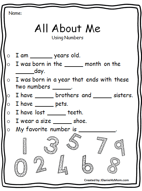 All About Me Worksheets That Explore Math Concepts