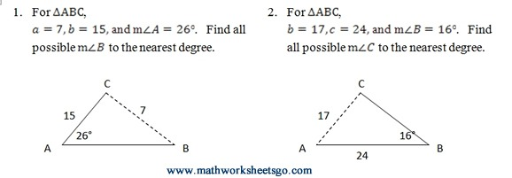 Ambiguous Case Of Law Of Sines Worksheet (pdf) With Answer Key