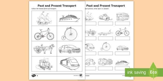 Past And Present Transport Worksheet   Worksheet