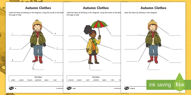 Autumn Clothes Labelling Differentiated Worksheets