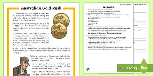 Gold Rush Australia Differentiated Worksheet   Worksheets
