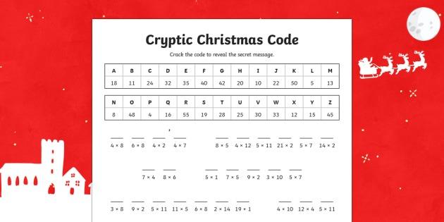 Cryptic Christmas Code Multiplication Worksheet   Worksheet