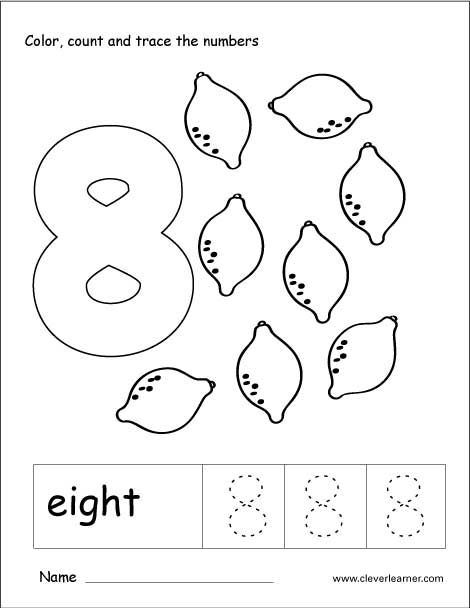 Number 8 Tracing And Colouring Worksheet For Kindergarten