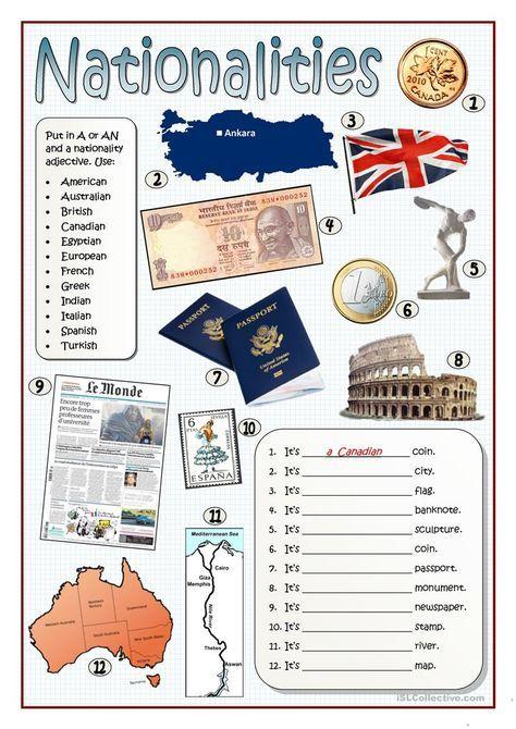 Nationalities Worksheet