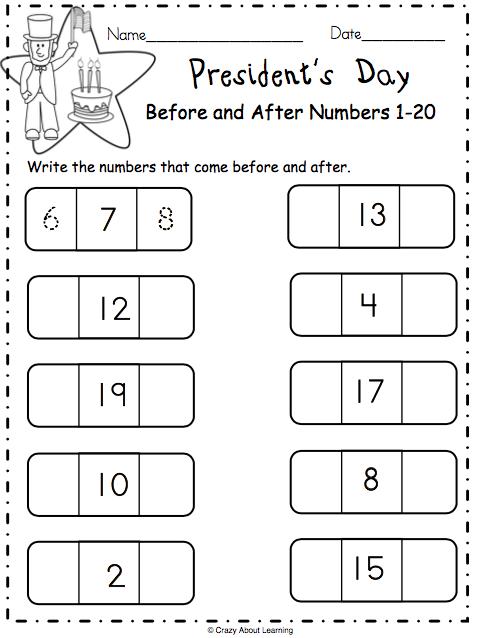 President's Day Math Worksheet