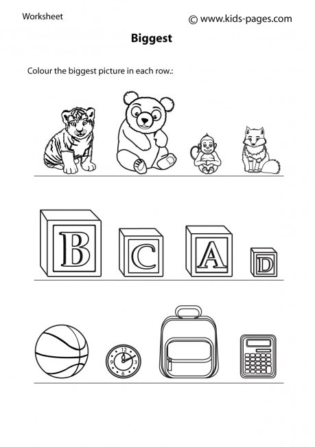 Big Small 5 B&w Worksheet