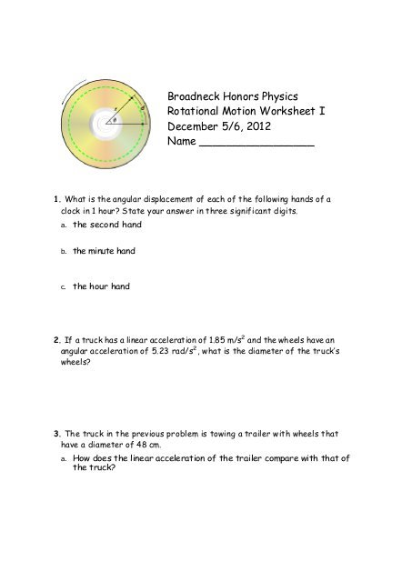 Broadneck Honors Physics Rotational Motion Worksheet I