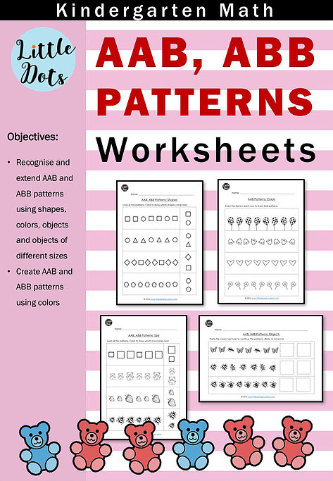 Aab And Abb Patterns Worksheets And Activities For Kindergarten