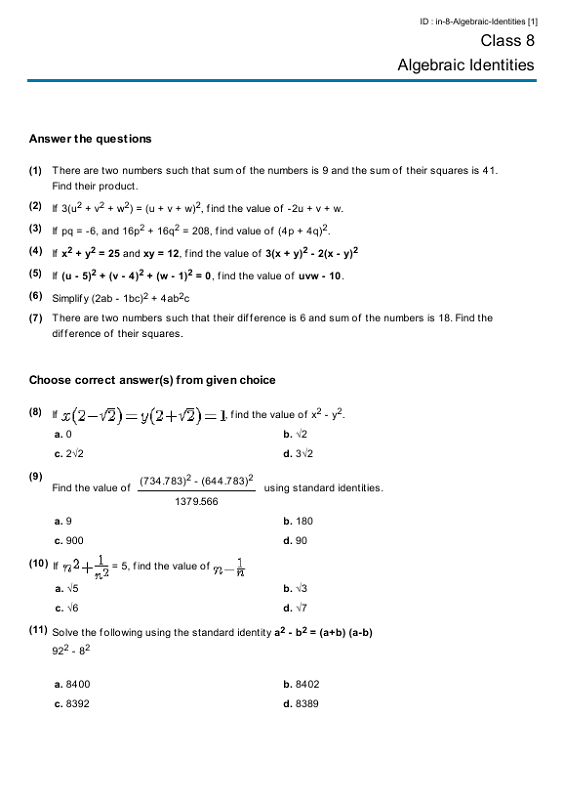 Printable Year 8 Math Worksheets Algebraic Identities