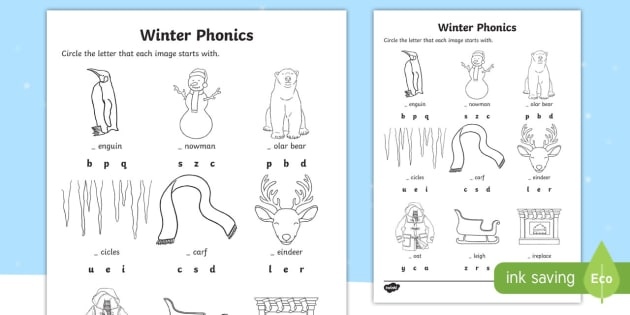 Winter Word Phonics Worksheet   Worksheet