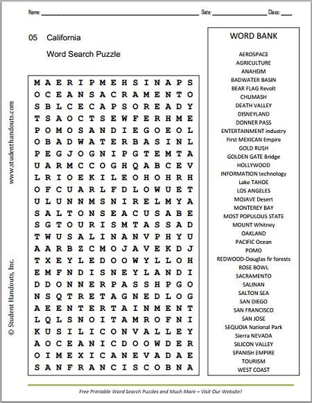 California Cities And Landmarks Word Search Puzzle