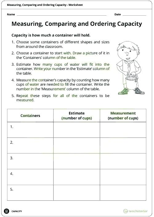 Capacity Worksheets Customary Capacity Worksheets Measurement