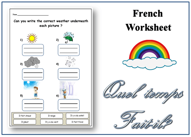 Downloadable Printable French Worksheet  Weather Topic  Writing
