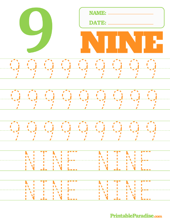 Printable Number 9 Tracing Worksheet