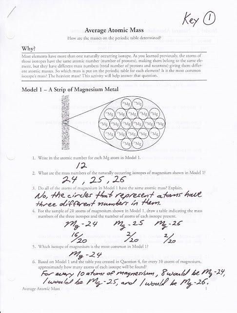 Chemistry Average Atomic Mass Worksheet Answers Balancing