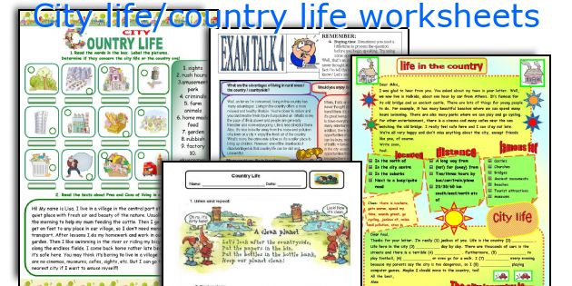 City Life Country Life Worksheets