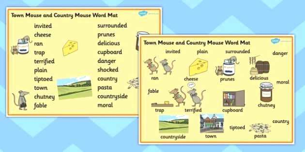 City Mouse Country Mouse Worksheets The Town Mouse And The Country