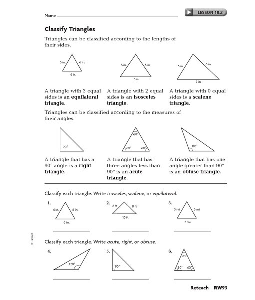 Identifying Triangles Worksheets