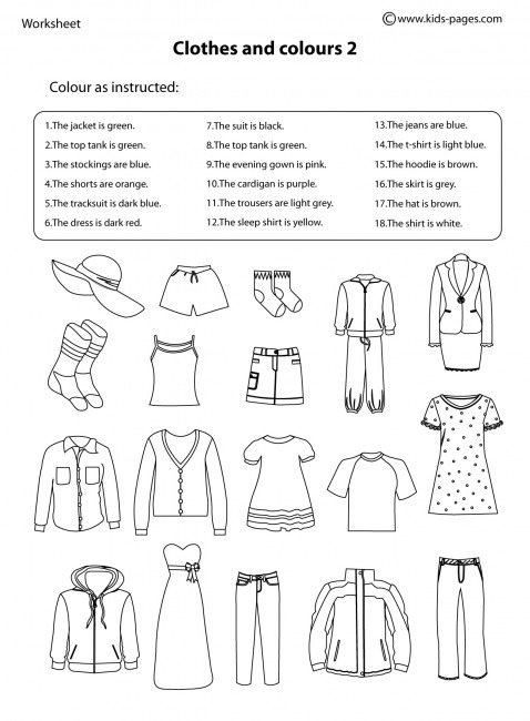 Clothes And Colours 3 Worksheet