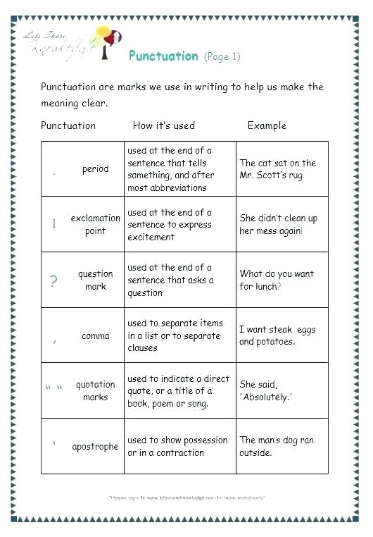 Comma Worksheets Middle School Capitalization Punctuating