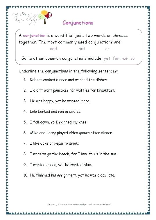 Subordinating Conjunctions Worksheets – Openlayers Co