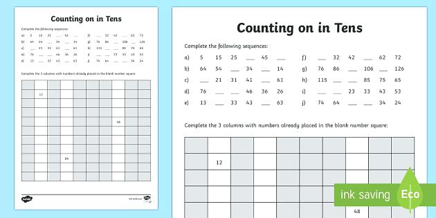 Counting By 10s Worksheet Counting By 2 5 10 Free Worksheets