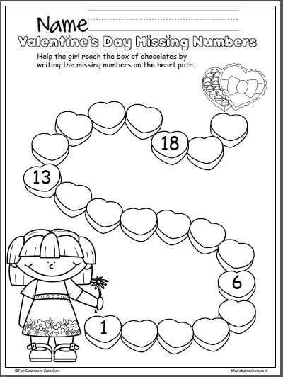 Valentine's Day Missing Numbers Activity 1