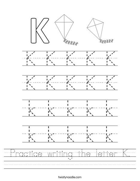 Practice Writing The Letter K Worksheet