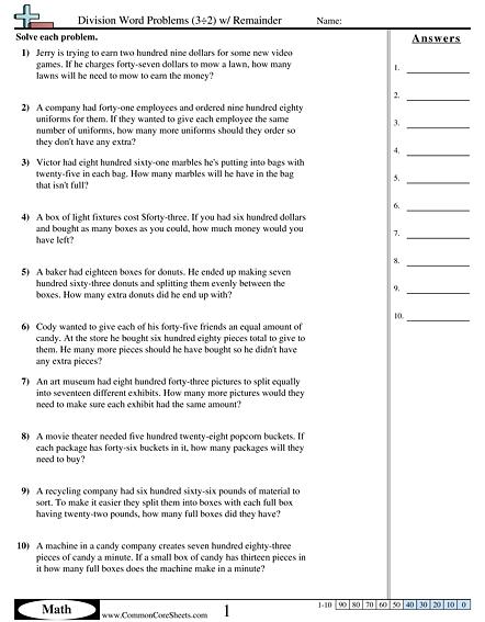 Division Word Problems (3÷2) W  Remainder Worksheet