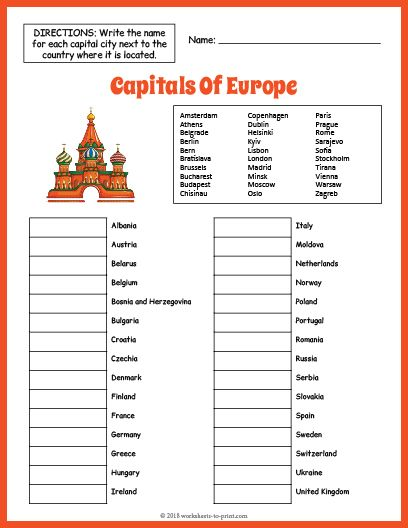 Free Capitals Of Europe Geography Worksheet