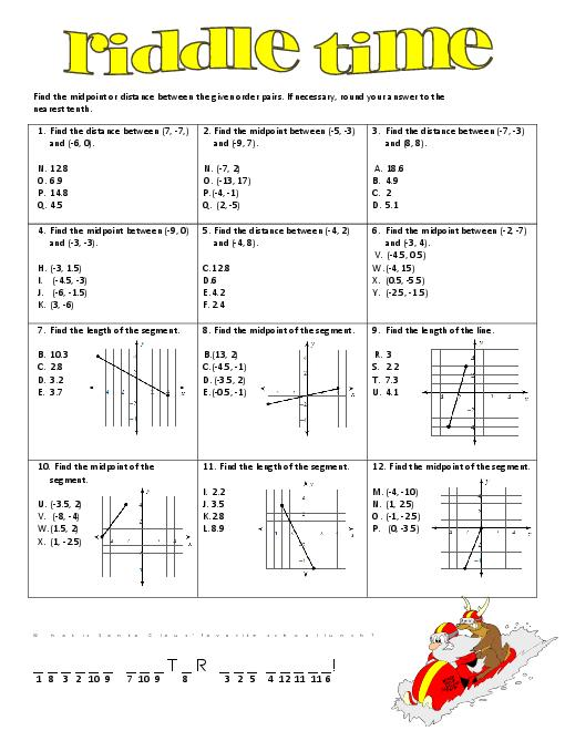 Midpoint And Distance Worksheet Distance And Midpoint Worksheet