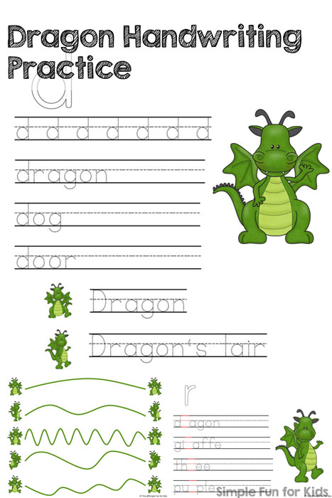 Dragon Handwriting Practice Printable