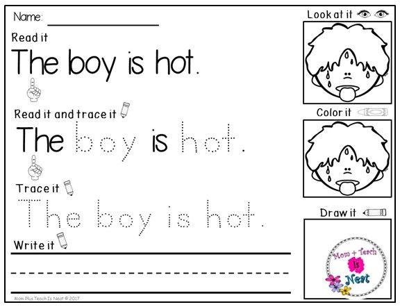 Kindergarten Reading & Handwriting Worksheets