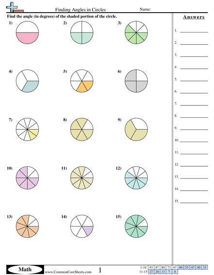 Finding Angles In Circles Worksheet