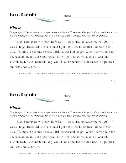Elementary Grammar Worksheets Common For School Printable