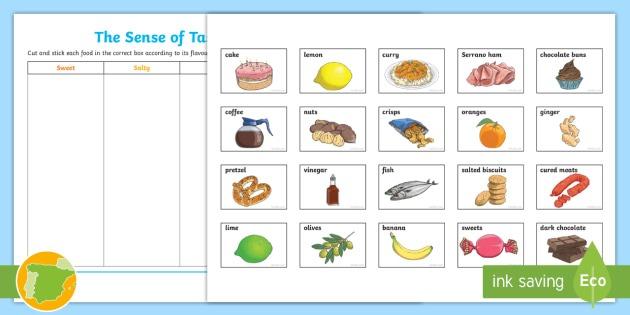 The Sense Of Taste Cut And Stick Worksheet