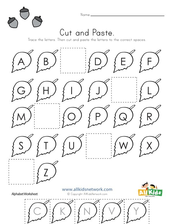 Fall Cut And Paste Missing Letters Worksheet