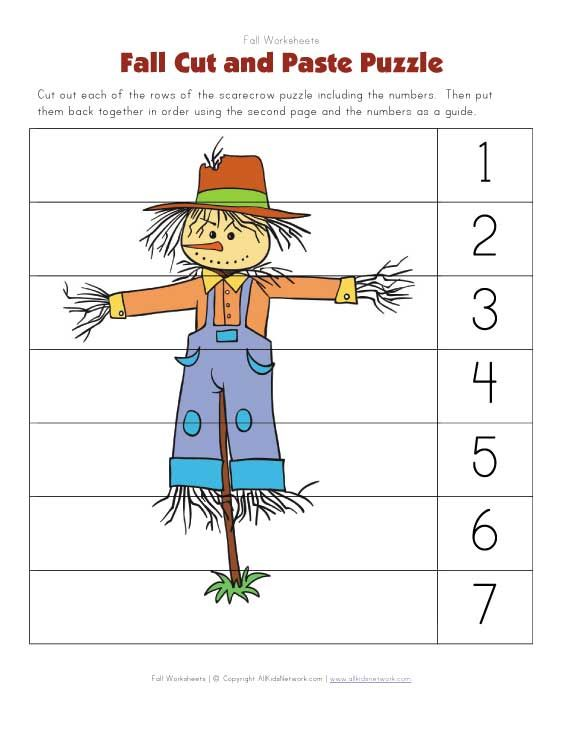 Fall Themed Cut And Paste Puzzle Worksheet