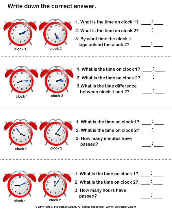 Find Start Time End Time And Time Difference Worksheet