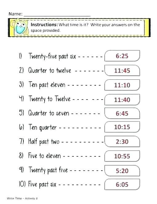 First Grade Time Worksheets Ng Time Worksheets Quarter Past