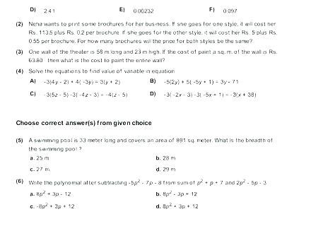 Free Grade Math Worksheets Grade 7 Math Worksheets And Problems