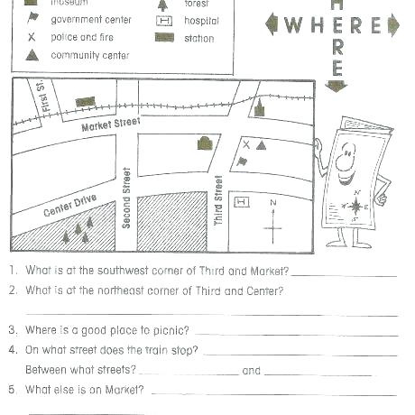 Free Printable Grid Map Worksheets Skills Of For Grade Related