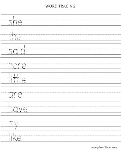 Free Printable Worksheet Kindergarten Spelling Words Tracing